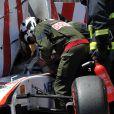 Le très grave accident de Sergio Perez lors des essais du Grand Prix de Monaco, le 28 mai 2011.