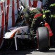 Le terrible accident de Sergio Perez lors des essais du Grand Prix de Monaco, le 28 mai 2011.