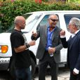 Christian Audigier en mafieux sur le tournage du long-métrage 513°F, réalisé par Kader Ayd.