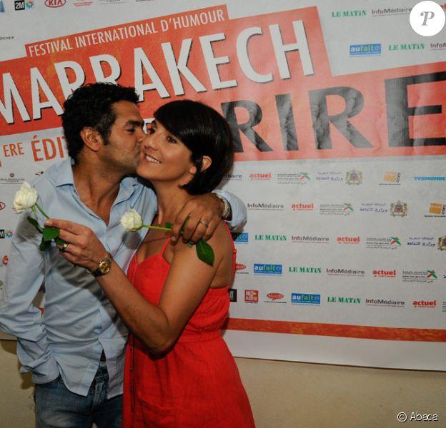Jamel Debbouze et Florence Foresti lors de la conférence de presse d'ouverture du festival Le Marrakech du rire au Maroc le 9 juin 2011