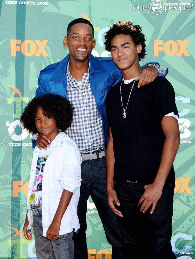 Will Smith et son fils Trey (ainsi que le jeune Jaden Smith), en août 2008 à Los Angeles.