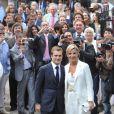 Renaud Capuçon et Laurence Ferrari lors de leur mariage, à la mairie du XVIe arrondissement de Paris, le 3 juillet 2009.