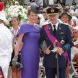 Le prince Philippe et la princesse Mathilde de Belgique lors de leur arrivée à la cérémonie religieuse pour le mariage d'Albert et Charlene, le 2 juillet 2011 à Monaco.