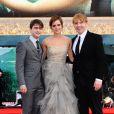 Daniel Radcliffe, Emma Watson et Rupert Grint lors de l'avant-première mondiale de Harry Potter et les Reliques de la mort - partie II à Londres le 7 juillet 2011