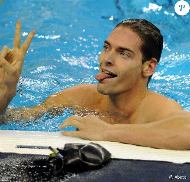 Camille Lacourt, le 25 juillet à Shanghai, lors de l'épreuve du 50m dos des championnats du monde de natation à Shanghai.