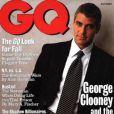 """""""Octobre 1995 : costume sombre et chemise blanche, le beau George Clooney prend la pose pour le magazine masculin GQ. """""""
