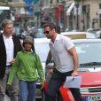 Hugh Jackman à Paris le 4 septembre 2011 avec sa femme et ses enfants