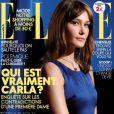 Un an et demi après son mariage au président Nicolas Sarkozy, Carla Bruni-Sarkozy réalise la couverture du magazine Elle. 18 septembre 2009.