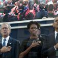Barack et Michelle Obama, non loin de George W. Bush et de son épouse Laura, lors de la commémoration, dix ans après, des attentats du 11 septembre 2001.  New York