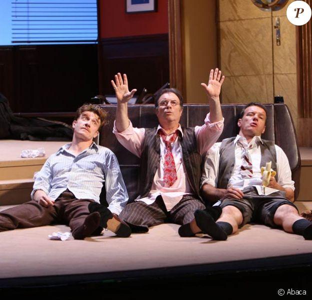 Samuel Le Bihan, Daniel Russo et Thierry Frémont jouent Hollywood sur les planches du Théâtre Antoine, à Paris, le 9 septembre 2011.