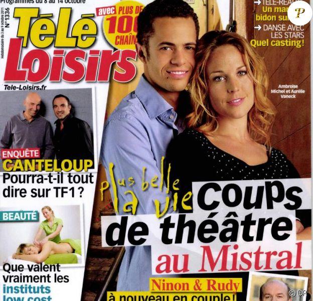 Aurélie Vaneck et Ambroise Michel en couverture de Télé-Loisirs.