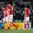 Les Gallois, déçus et abattus après leur défait en demi-finale face aux français à l'Eden Park d'Auckland le 15 octobre 2011