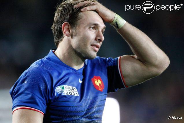 Vincent Clerc, très ému après la victoire des Bleus en demi-finale de la Coupe du monde de rugby à l'Eden Park d'Auckland le 15 octobre 2011