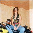 Demi Moore joue la rockeuse en grosse cylindrée. Londres, le 18 mai 1993.