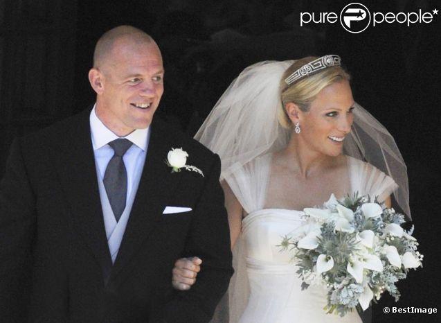 Zara Phillips et Mike Tindall le jour de leur mariage