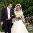 Mariage de Marie Cavallier et de Joachim de Danemark : la mariée et son père Alain Cavallier
