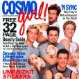 Justin Timberlake (à droite) et son ancien boysband les 'N Sync, en Une de Cosmo Girl. Mai 2000.