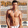 Justin Timberlake expose ses muscles saillants pour le Rolling Stone de janvier 2003.