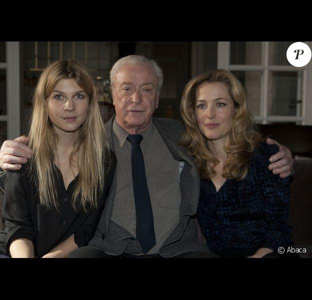 Clémence Poésy, Michael Caine et Gillian Anderson pour le film Mr. Morgan's Last Love, à Cologne, Allemagne, le 16 décembre 2011.
