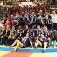 L'équipe de France aprè sa défaite le 18 décembre 2011 à Sao Paulo au Brésil lors de la finale des Championnats du monde de handball face à la Norvège