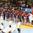 Les équipes de France et de Norvège le 18 décembre 2011 à Sao Paulo au Brésil lors de la finale des Championnats du monde de handball perdue face à la Norvège