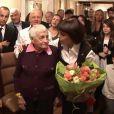 90 ans de Marcelle-Sophie, maman de Mireille Mathieu, à Coudekerque-Branche, le 17 décembre 2011. (Image AFP)