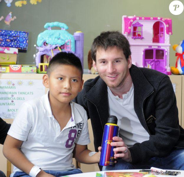 Lionel Messi le 5 janvier 2012 à l'hôpital del Mar de Barcelone