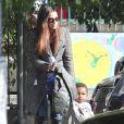 Sandra Bullock et son fils Louis sortent de l'école, à Studio City près de Los Angeles. Le 19 janvier 2012