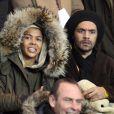 Ayo et Patrice lors du match au sommet entre le PSG et Montpellier conclu sur le score de 2-2 au Parc des Princes à Paris le 19 février 2012