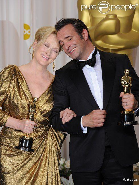 Jean Dujardin et Meryl Streep, oscarisés pour The Artist et La Dame de Fer, le 26 février 2012.