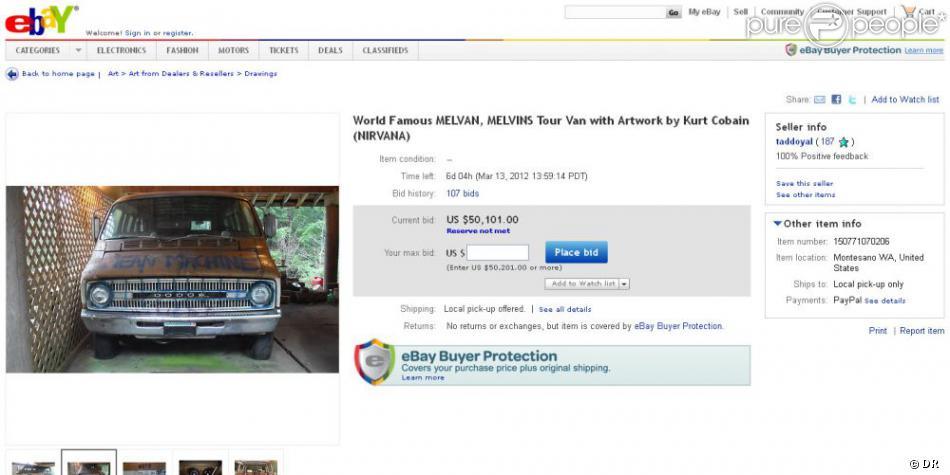 le van de kurt cobain et nirvana mis en vente sur le site d 39 ench res ebay purepeople. Black Bedroom Furniture Sets. Home Design Ideas