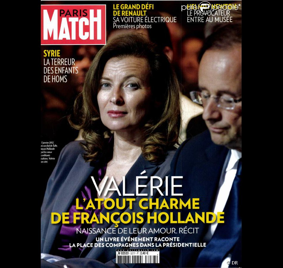 val rie trierweiler et fran ois hollande en couverture de paris match en kiosques le 8 mars. Black Bedroom Furniture Sets. Home Design Ideas