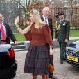 La princesse Maxima en mission pour Qredits, à La Haye, le 7 mars 2012.   Après la tragédie familiale qui a frappé la famille royale des Pays-Bas en février 2012 (le prince Friso, victime d'une avalanche, est tombé dans le coma), il a fallu se remettre au travail...