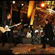Johnny Hallyday, lors de l'enregistrement de son concert privé à la Tour Eiffel, le samedi 3 décembre 2011.