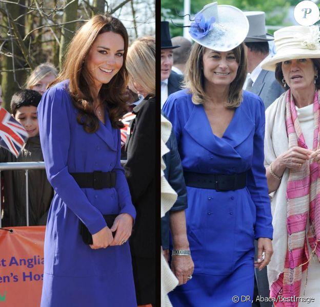 Kate Middleton portait le 19 mars 2012, pour l'inauguration de The Treehouse à Ipswich en sa qualité de marraine de l'EACH, la même robe Reiss bleue que sa mère Carole Middleton, en juin 2010 au dernier jour du Royal Ascot.