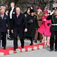 Dépôt de gerbes avec le couple royal de Norvège à la forteresse d'Asker.   Le prince Charles et son épouse Camilla Parker Bowles effectuent fin mars 2012 une tournée en Scandinavie en représentation de la reine Elizabeth II pour son jubilé de diamant. Première étape : la Norvège, du 20 au 22 mars 2012.