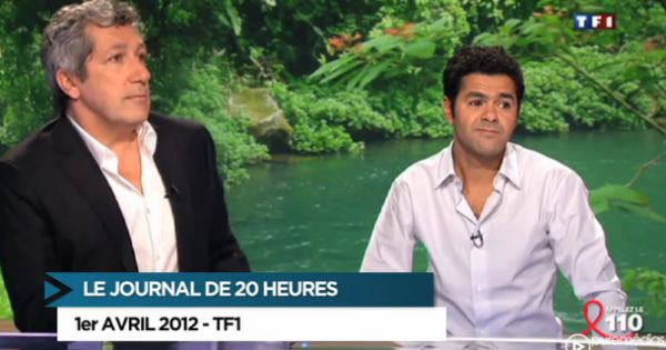 alain chabat et jamel debbouze invit s du journal de 20h de tf1 pr sent par claire chazal pour. Black Bedroom Furniture Sets. Home Design Ideas