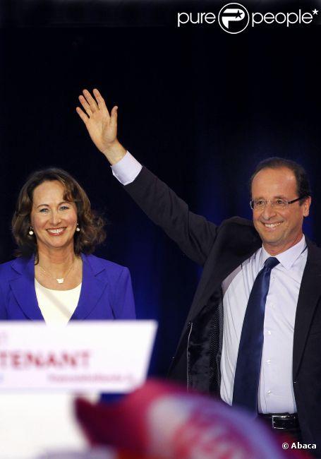 François Hollande et Ségolène Royal, lors du grand meeting de François Hollande à Rennes, le mercredi 4 avril 2012.