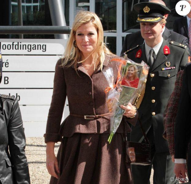 La princesse Maxima des Pays-Bas à l'Université de Twente pour l'inauguration de la 1re conférence de recherche sur la micro-assurance, le 11 avril 2012.