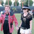 Johnny Hallyday et sa belle Laeticia au festival de Coachella le 14 avril 2012
