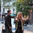 David Duchovny et Natascha McElhone, sur le tournage de  Californication , à New York, le vendredi 20 avril 2012.
