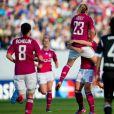 Camille Abily et ses partenaires lors de la finale de la Ligue des Champions féminines remportée par l'équipe de Lyon à Munich le 17 mai 2012 face à Francfort (2-0)