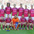 L'équipe de Lyon lors de la finale de la Ligue des Champions féminines remportée par l'équipe lyonnaise à Munich le 17 mai 2012 face à Francfort (2-0)