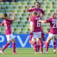 Camille Abily, Sabrina Viguier, Amandine Henry et Louisa Necib lors de la finale de la Ligue des Champions féminines remportée par l'équipe de Lyon à Munich le 17 mai 2012 face à Francfort (2-0)