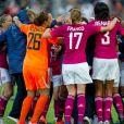 Les Lyonnaises victorieuses lors de la finale de la Ligue des Champions féminines remportée par l'équipe de Lyon à Munich le 17 mai 2012 face à Francfort (2-0)