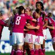 Les Lyonnaises lors de la finale de la Ligue des Champions féminines remportée par l'équipe de Lyon à Munich le 17 mai 2012 face à Francfort (2-0)