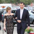 Le couple princier Letizia et Felipe d'Espagne lors d'un dîner au palais de Queluz au Portugal le 31 mai 2012