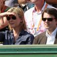 Michèle Laroque et son compagnon François Baroin dans les tribunes du court Suzanne-Lenglen de Roland-Garros, le 2 juin 2012.