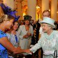 La reine Elizabeth II lors d'une réception à Mansion House le 5 juin 2012, juste après la messe célébrée en son honneur en la cathédrale Saint Paul.