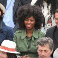 Inna Modja lors de la finale de Roland-Garros entre Rafael Nadal et Novak Djokovic le 10 juin 2012 à Paris